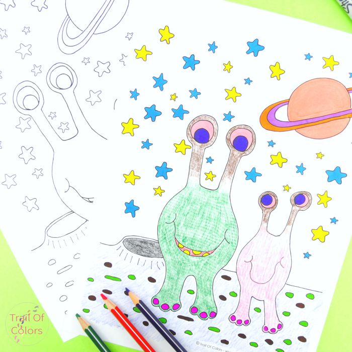 Alien Coloring Page for Kids