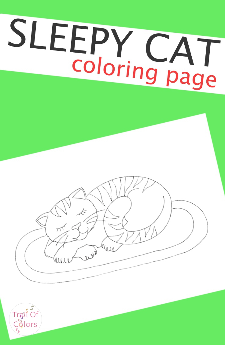 Sleepy Cat Coloring Page For Kids