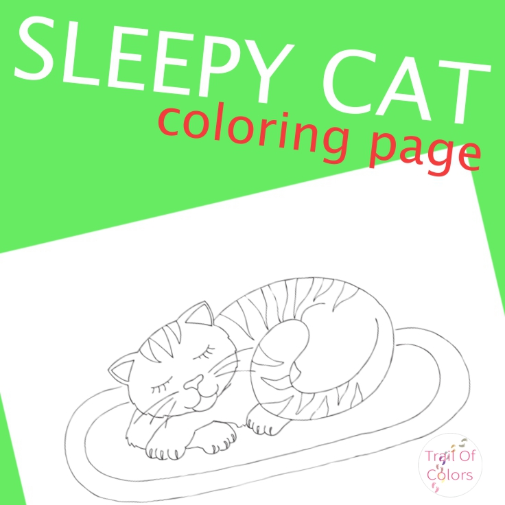 Sleepy Cat Coloring Page