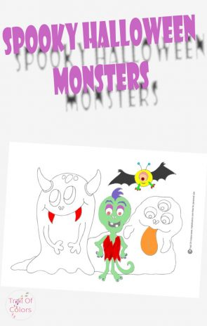 Spooky Halloween Mosters Coloring Page For Kids
