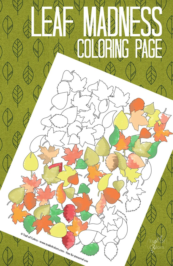 fall leaves coloring page trail of colors