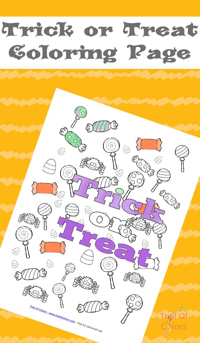 Halloween Trick or Treat Coloring Page - Trail Of Colors