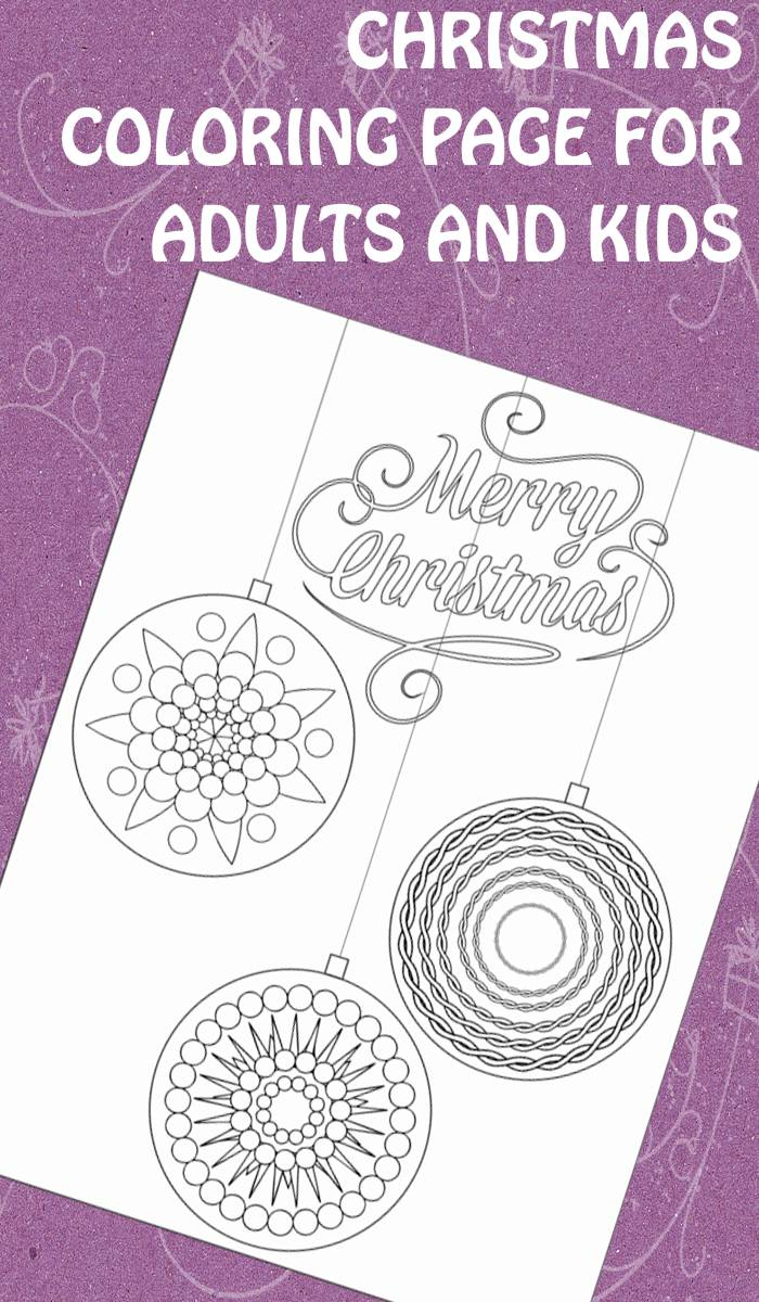 christmas ornaments coloring page for adults and kids - Christmas Coloring Books For Adults