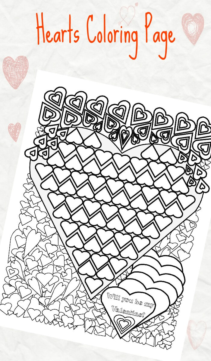 hearts coloring page for valentine u0027s day trail of colors