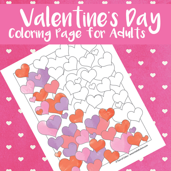 Valentines Hearts Coloring Page for Adults - Trail Of Colors