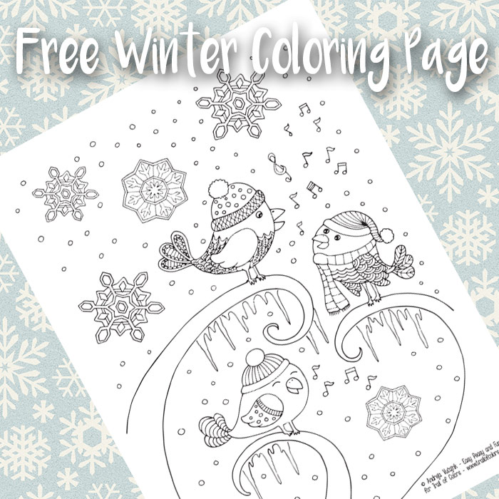 Singing Birds Winter Coloring Page For Adults