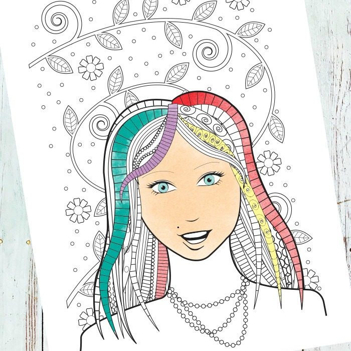 Face Coloring Page for Grown Ups