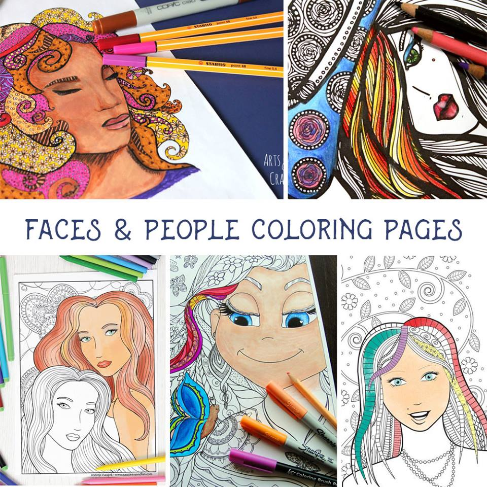 Faces collage coloring pages for adults