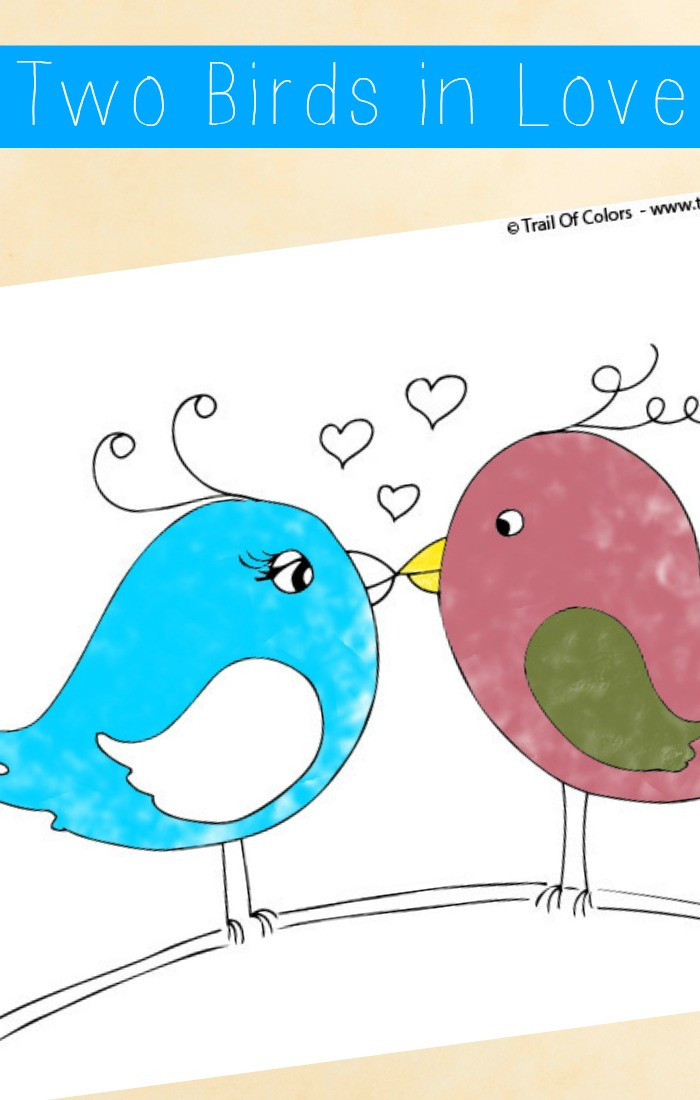 Two Little Birds in Love Coloring Page For Little Ones