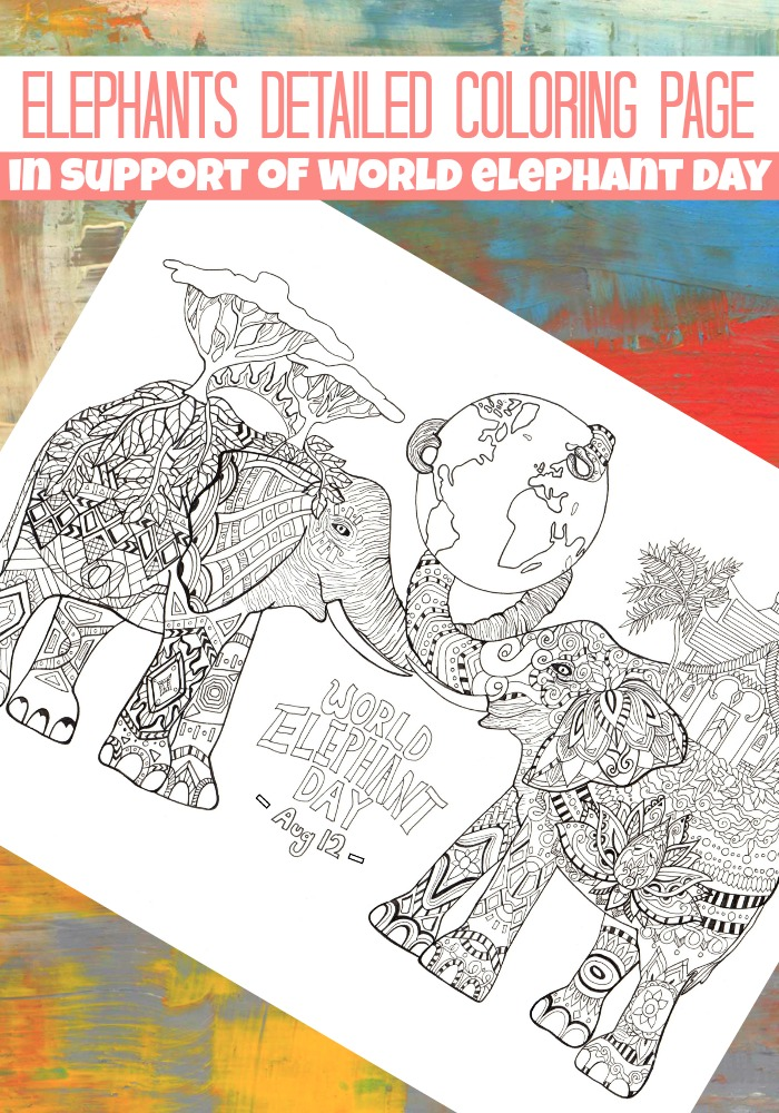 Elephants Detailed Coloring Page for Adults
