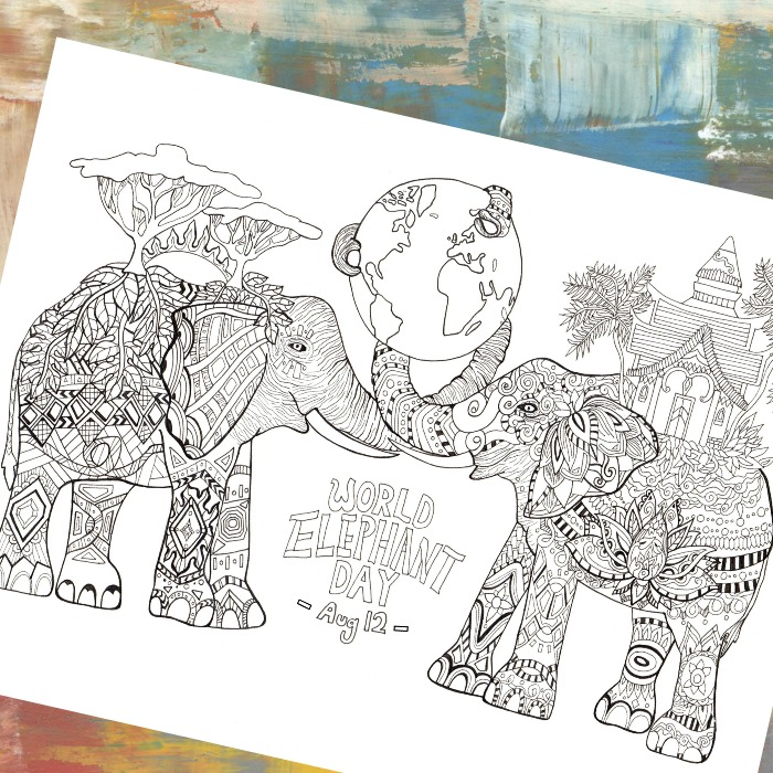 Elephants Detailed Coloring Page
