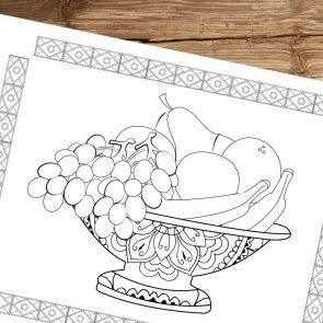 A Bowl of Fruit Coloring Page for Adults