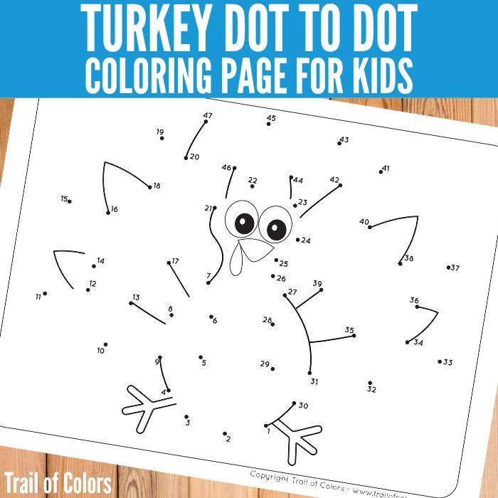 Free Printable Turkey Dot to Dot Coloring Page