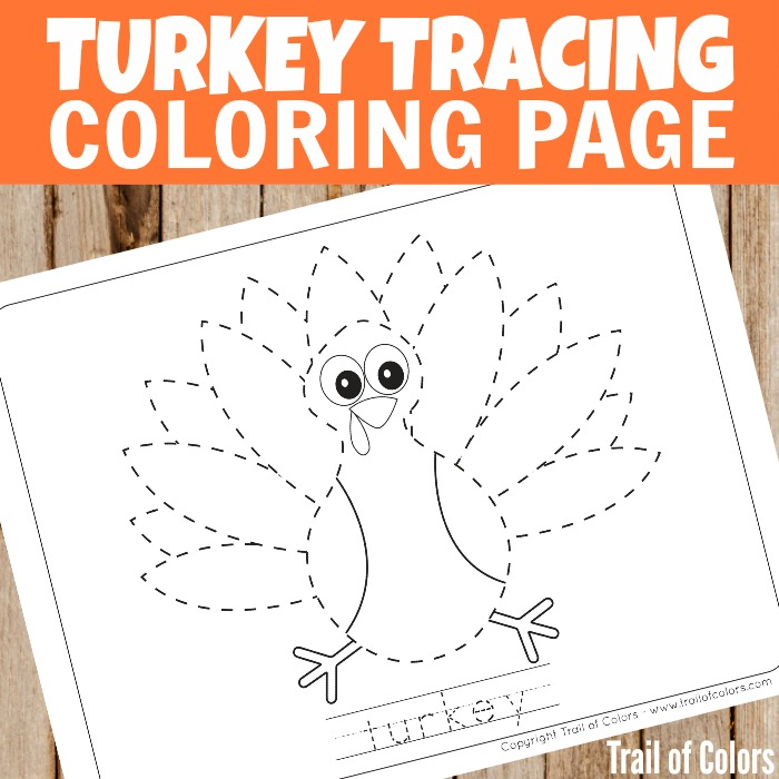 Cute Turkey Tracing Coloring Page for Kids - Trail Of Colors