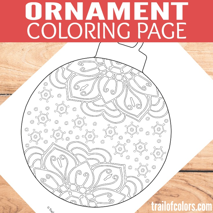 Christmas Ornament Coloring Page for Grown Ups