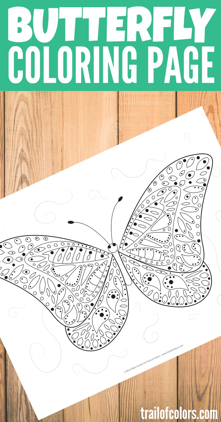 Bee and butterfly coloring pages - Free Printable Butterfly Coloring Page