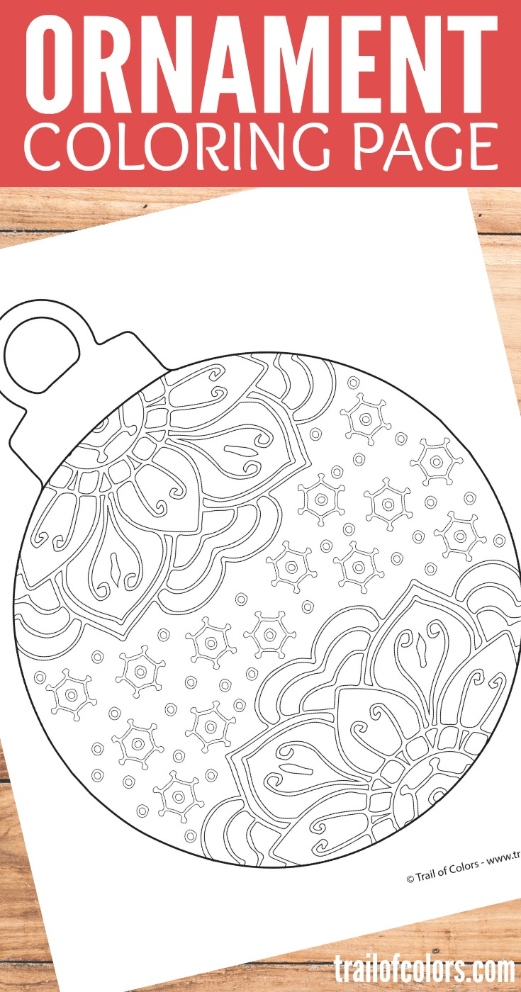 Free Printable Christmas Ornament Coloring Page for Adults