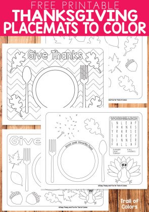 Free Printable Thanksgiving Placemats to Color