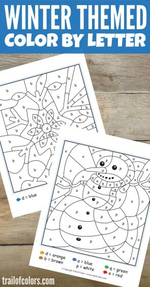Free Printable Winter Color by Letter Coloring Worksheet for Kids