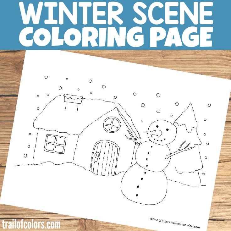 Free Printable Winter Scene Coloring Page