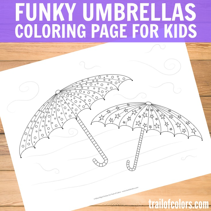 Funky Umbrellas Coloring Page for Kids