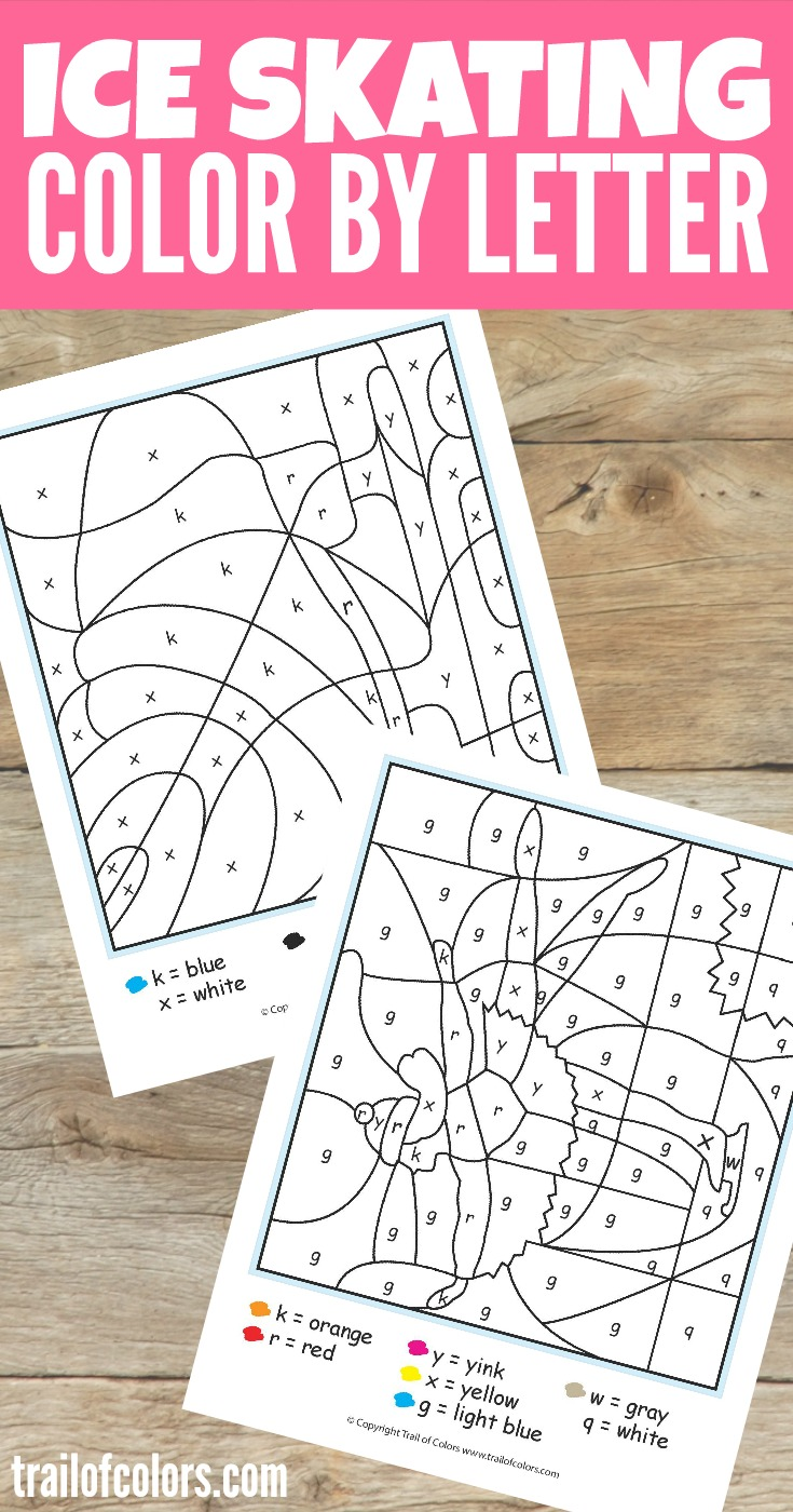 Grab These Cute Ice Skating Color by Letter Free Printable for Kids