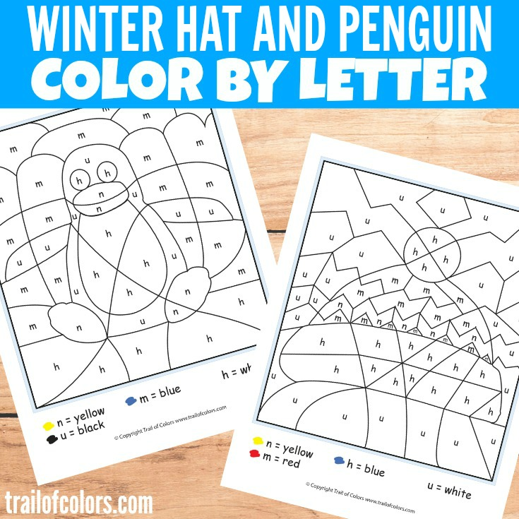 Winter Hat and Penguin Color by Letter for Kids