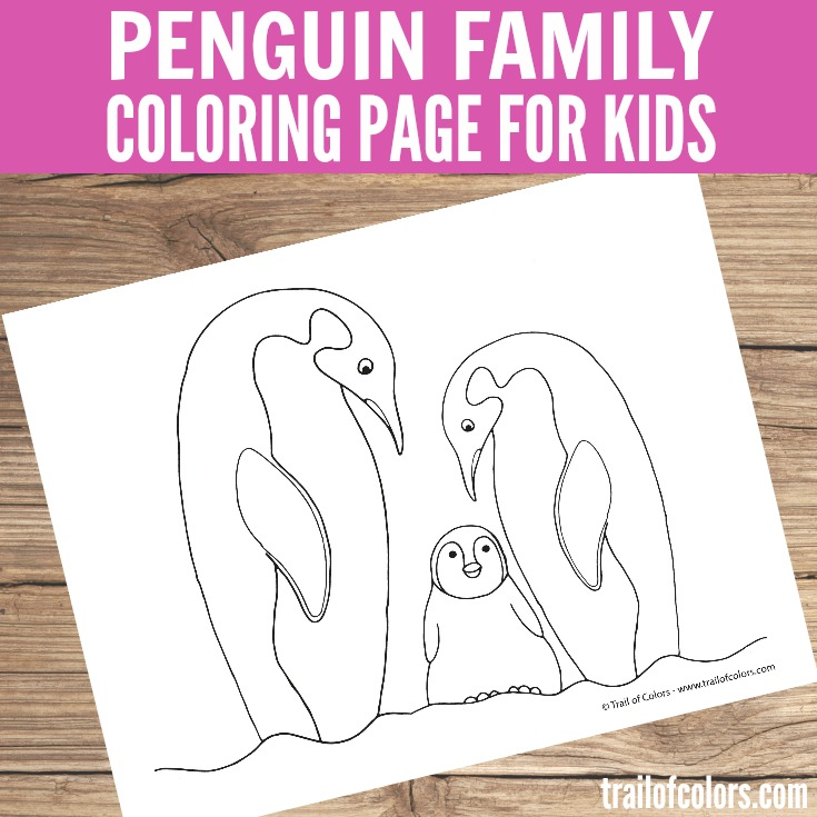 Adorable Penguin Family Coloring Page for Kids