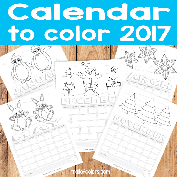 Free Printable Calendar To Color   Trail Of Colors