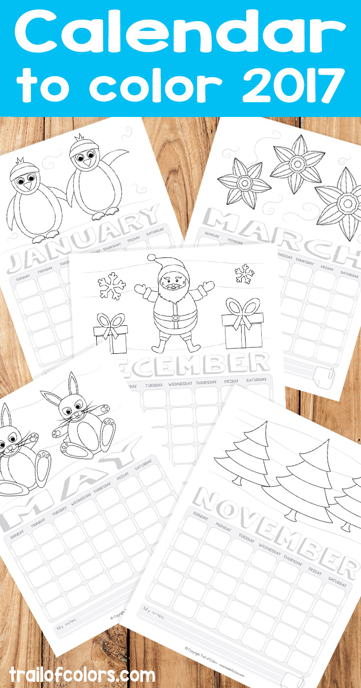 Free Printable Calendar to Color 2017 - Trail Of Colors