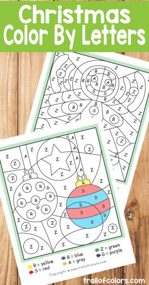 Christmas Color by Letter - Ornaments and Gingerbread Man