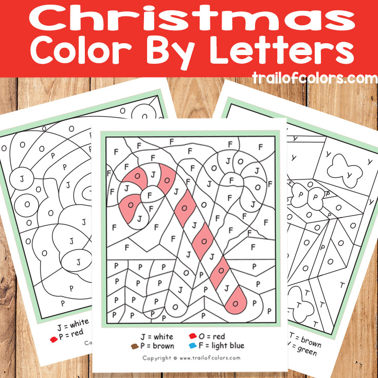 Christmas Color by Letters Santa Candy Cane and Presents