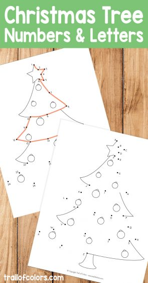 Christmas Tree Dot to Dot Coloring Page for Kids