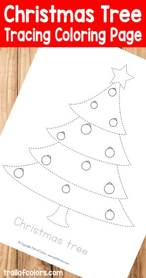 Christmas Tree Tracin Coloring Page for Kids