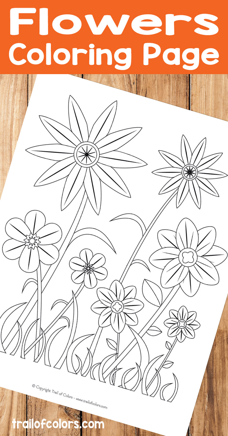 simple flower coloring page for kids trail of colors