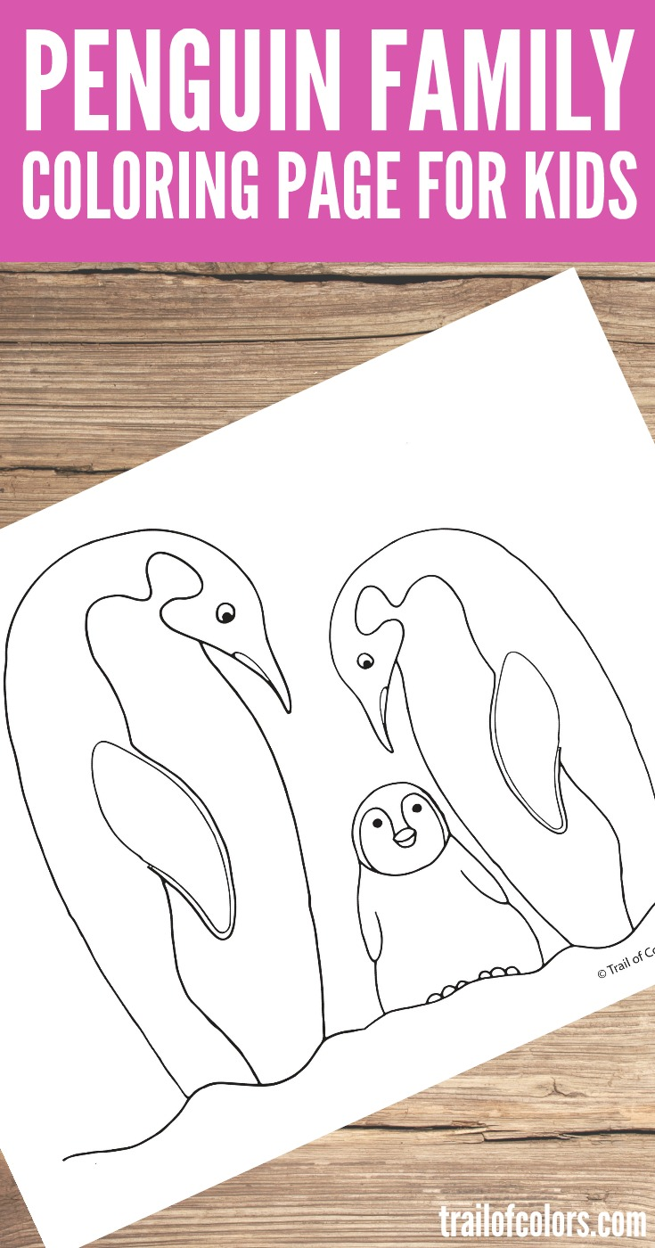 Free Prinable Penguin Family Coloring Page for Kids