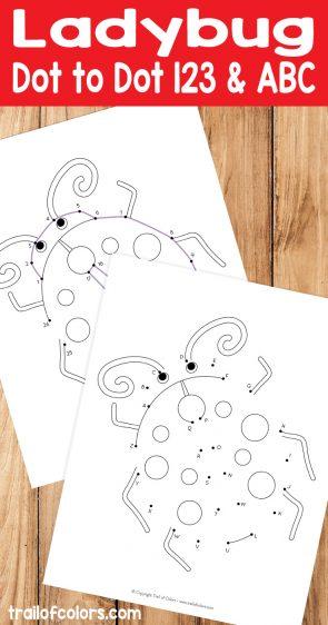 Ladybug Numbers and Aphabet Dot to Dot Worksheet