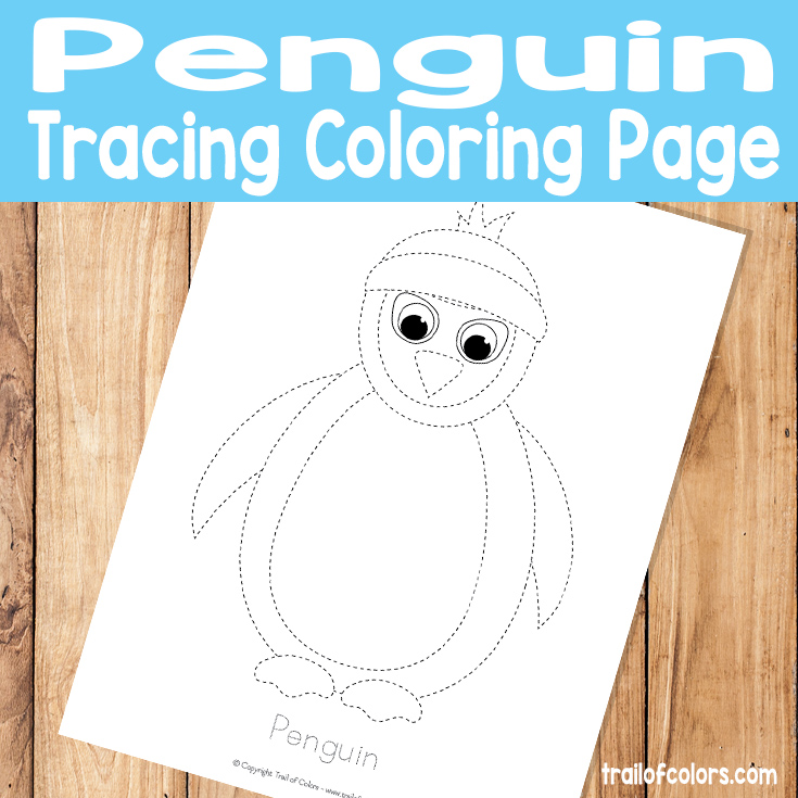 Penguin Tracing Coloring Page for Kids