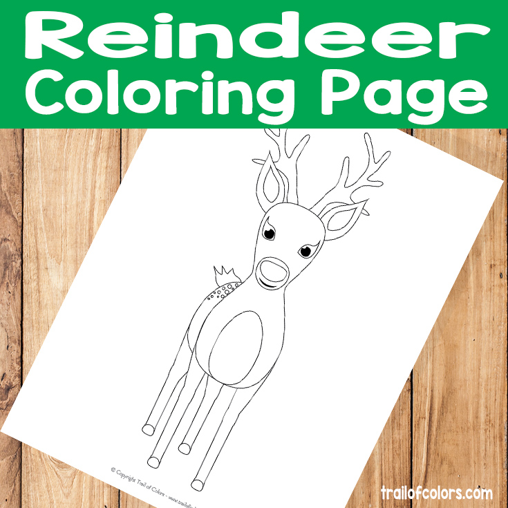 Cute Reindeer Coloring Page for Kids