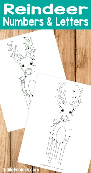 Reindeer Dot to Dot - Numbers and Alphabet