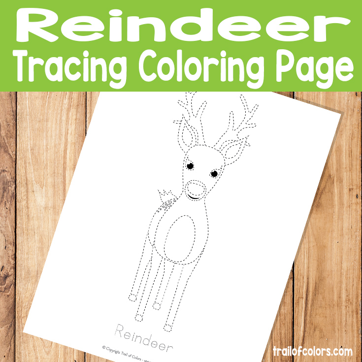 Reindeer Tracing Coloring Page for Kids