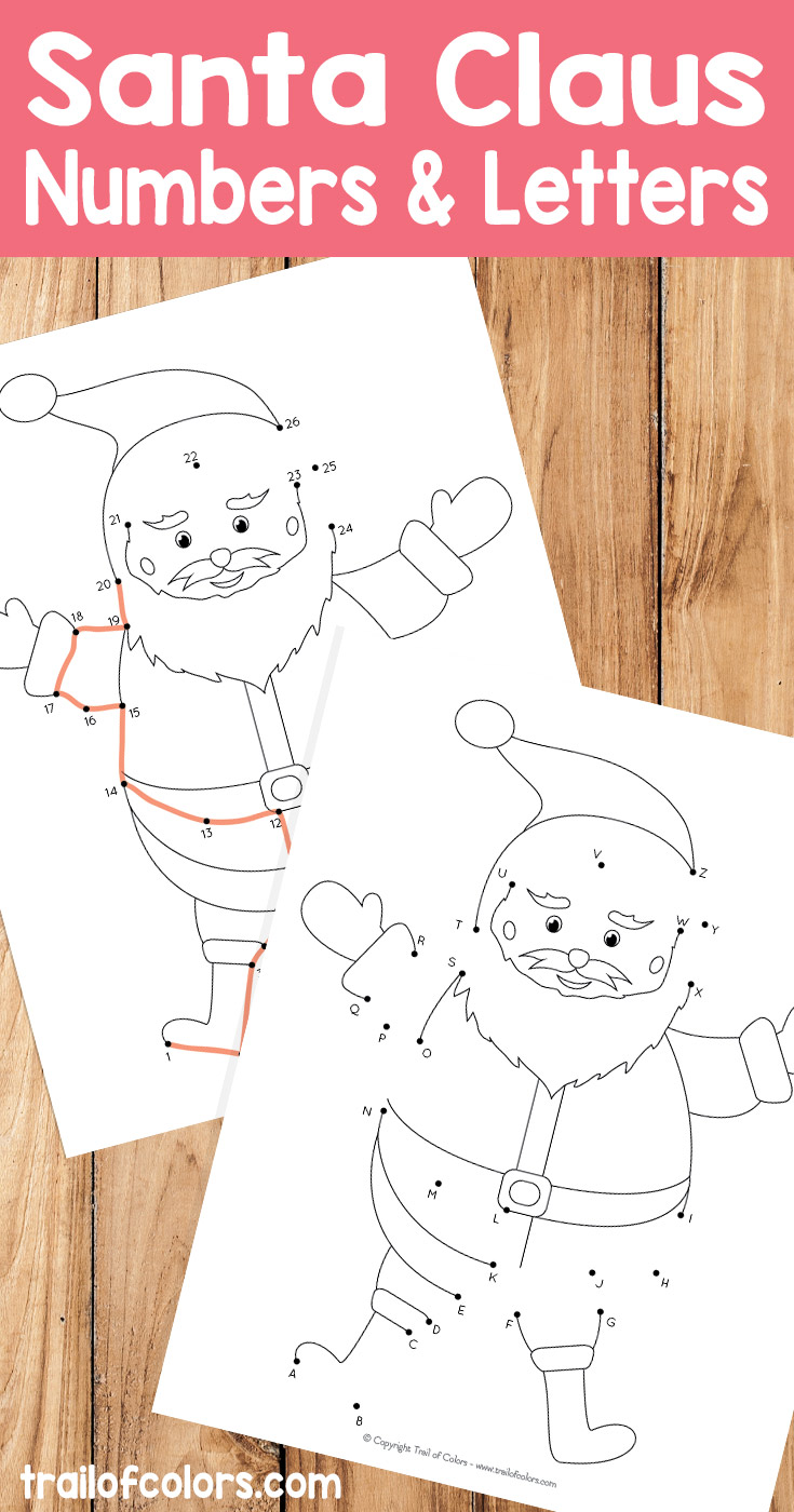 Santa dot to dot numbers and letters worksheet