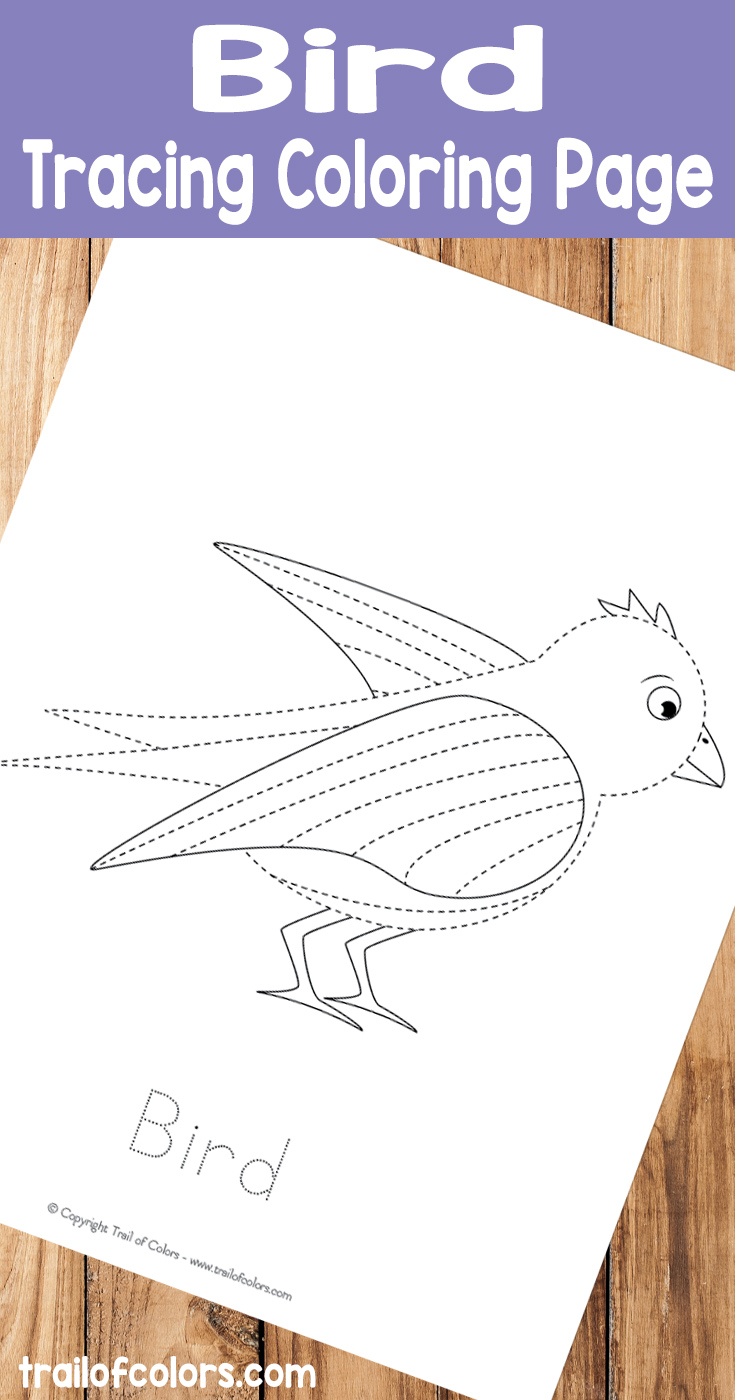 Free Printable Bird Tracing Coloring Page for Kids