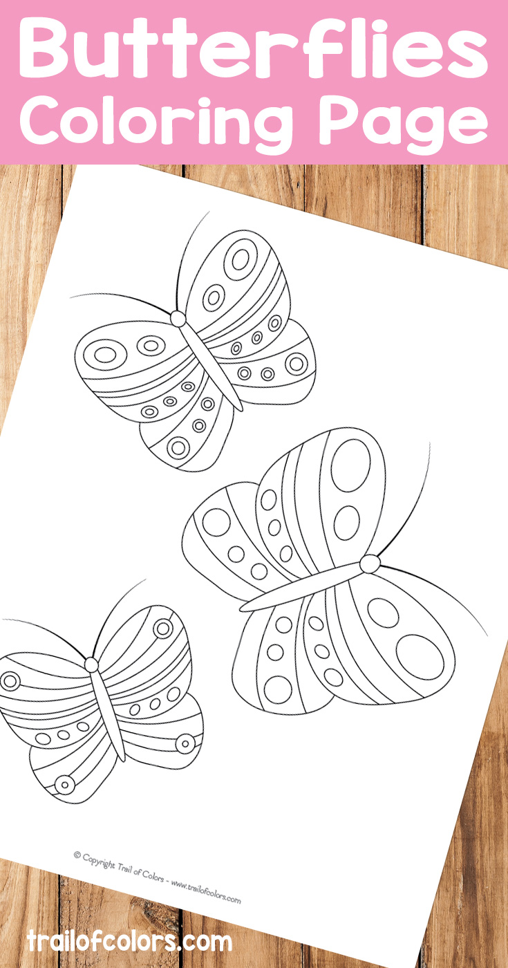 Bee and butterfly coloring pages - Cute Butterflies Free Printable For Kids