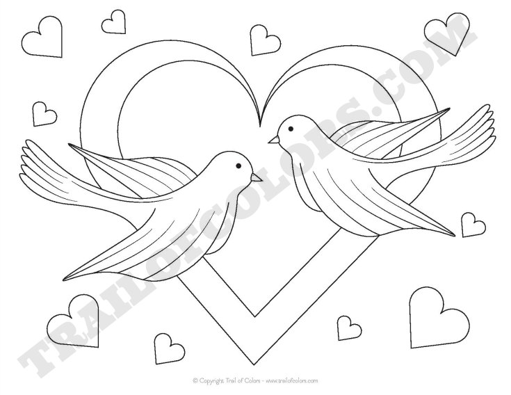 Adorable Doves Coloring Page for Kids  Trail Of Colors