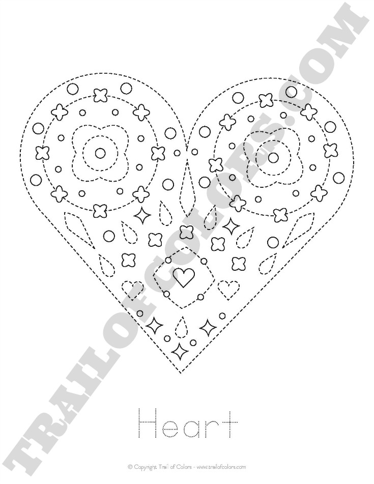 Free Printable Heart Tracing Coloring Page for Kids