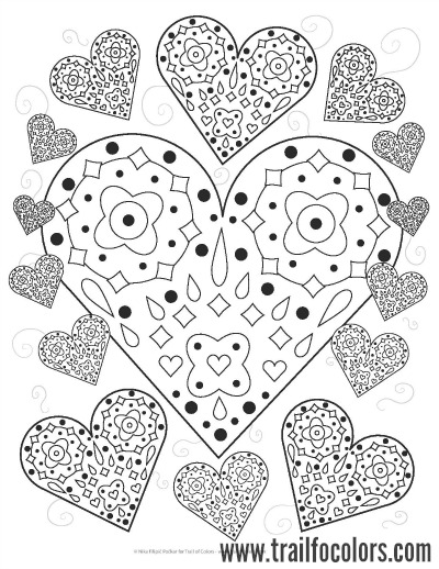 lovely hearts coloring page free printable