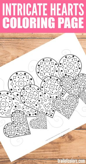Free Printable Intricate Hearts Coloring Page