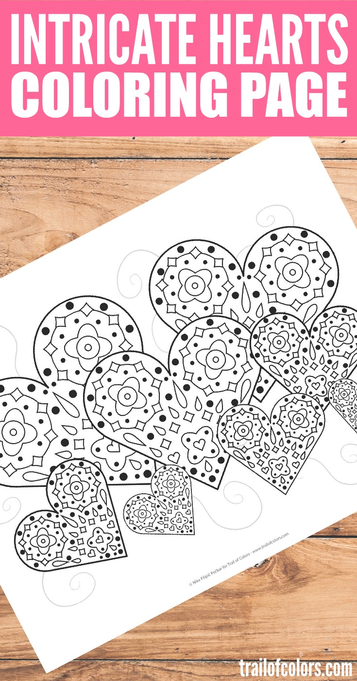 heart trees valentines day coloring page trail of colors