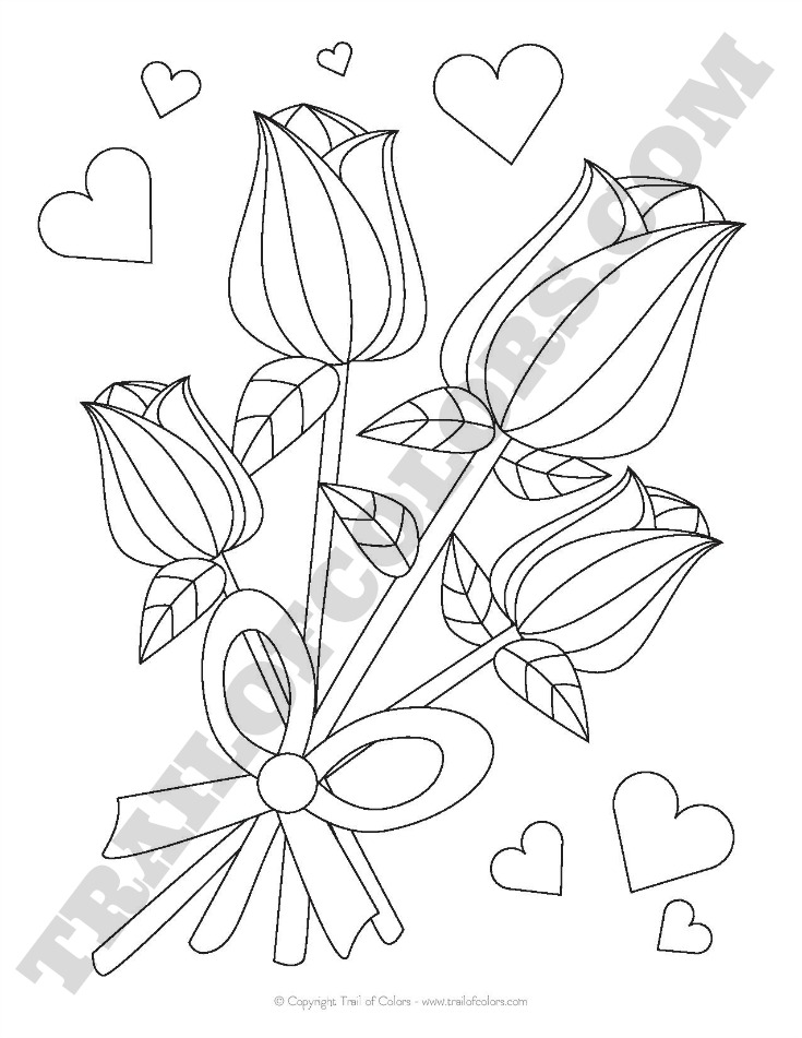 Free Printable Roses Coloring Page for Kids